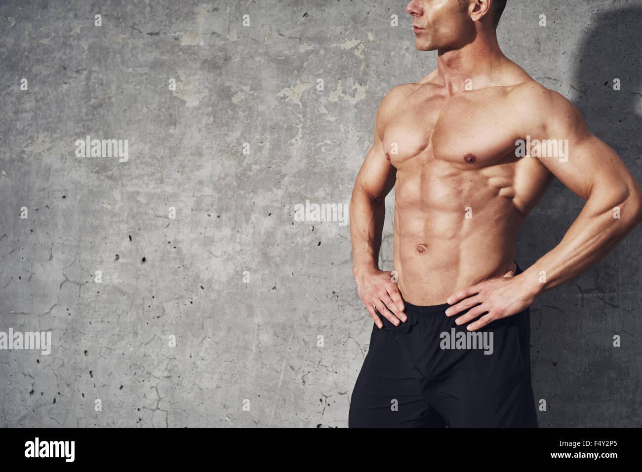 Portrait de remise en forme corps demi six pack (pas de chemise, concept de remise en forme, salle pour copyspace, Photo Stock