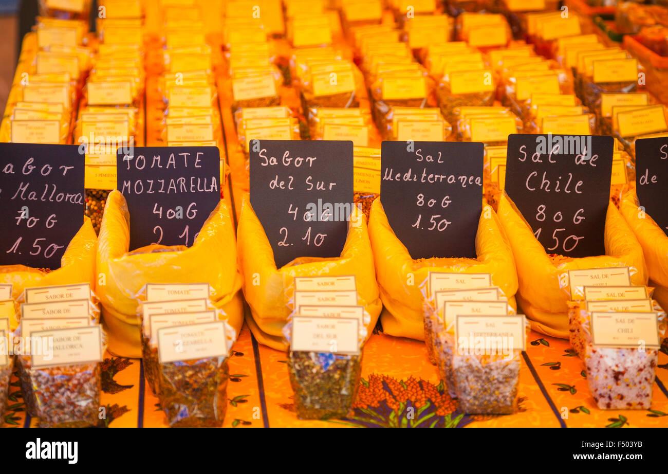 Produits sur les marchés de Majorque Photo Stock