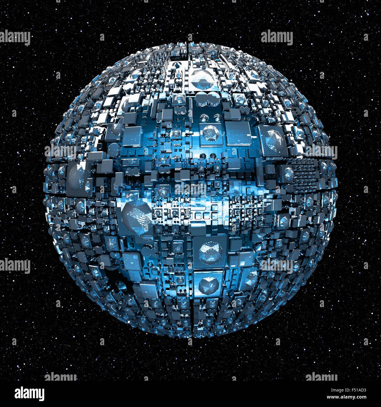 Illustration d'un univers fictif avec navire bataille spatiale et les étoiles Photo Stock