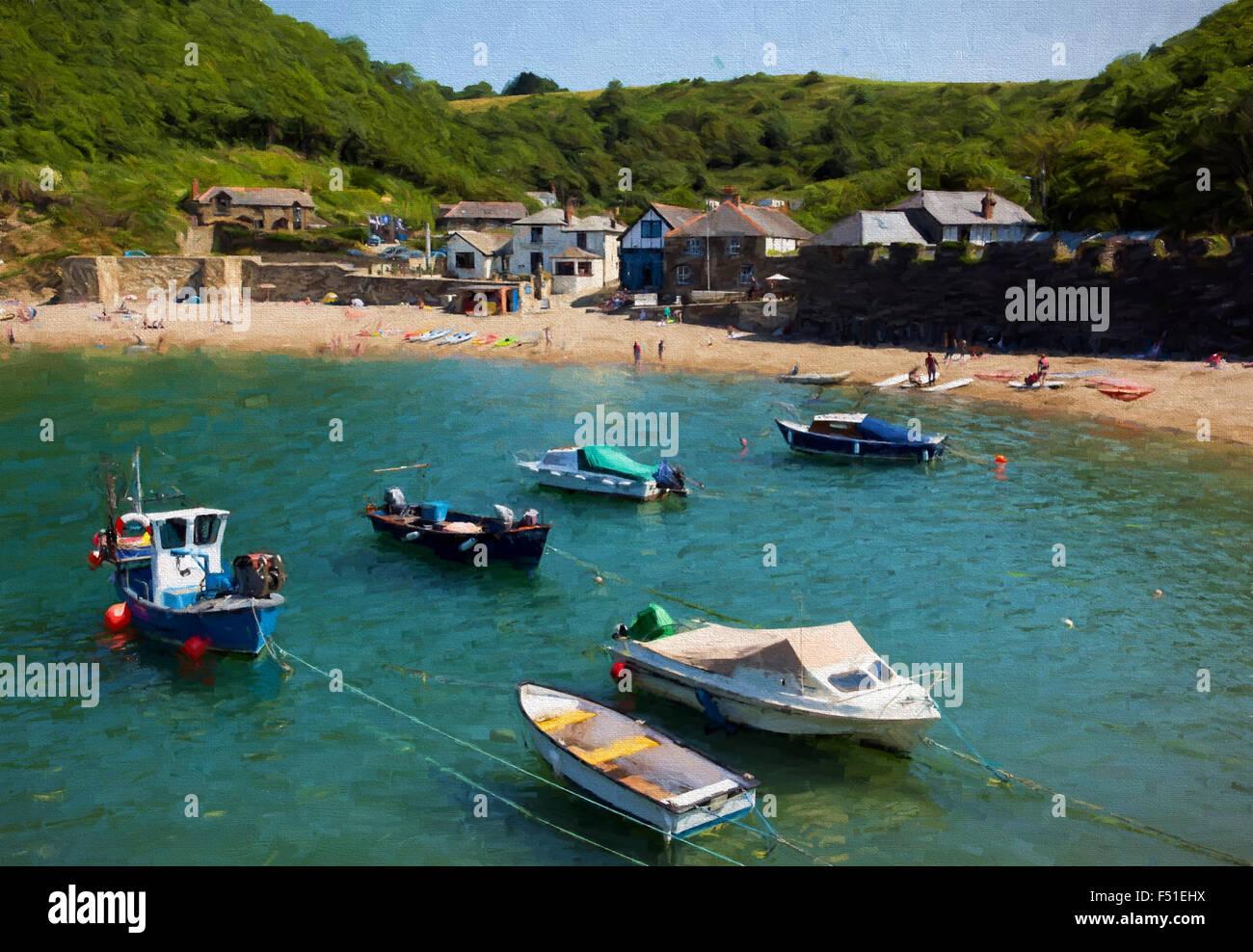 Bateaux dans le port Polkerris Cornwall England uk sur une belle journée d'illustration comme la peinture Photo Stock