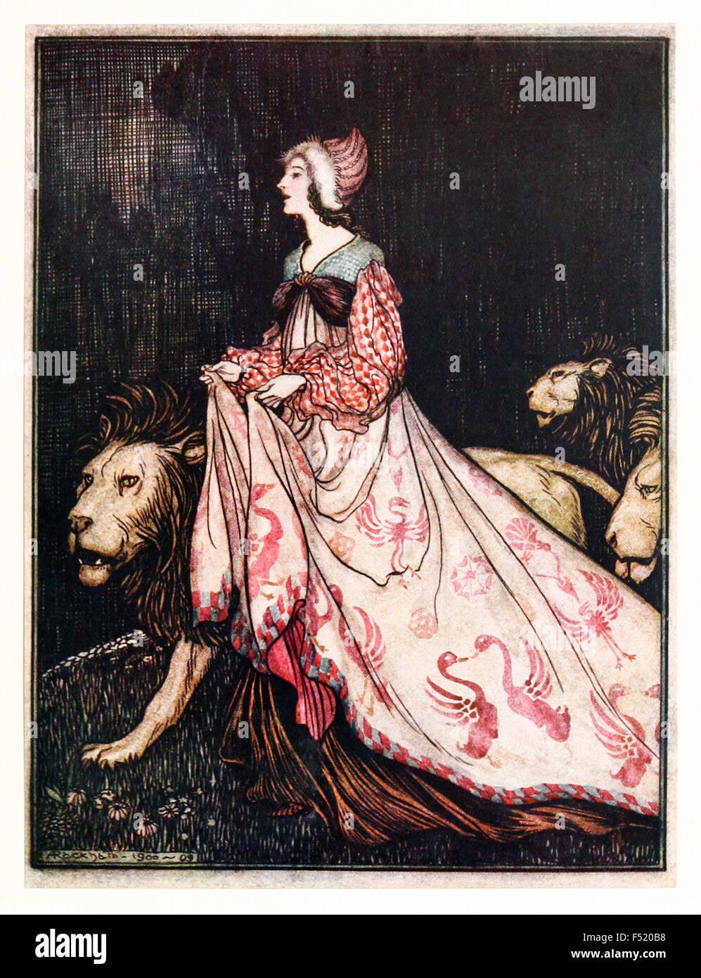 """""""Elle s'en alla accompagné par le Lions', de 'la dame et Le Lion' dans 'Les contes Photo Stock"""