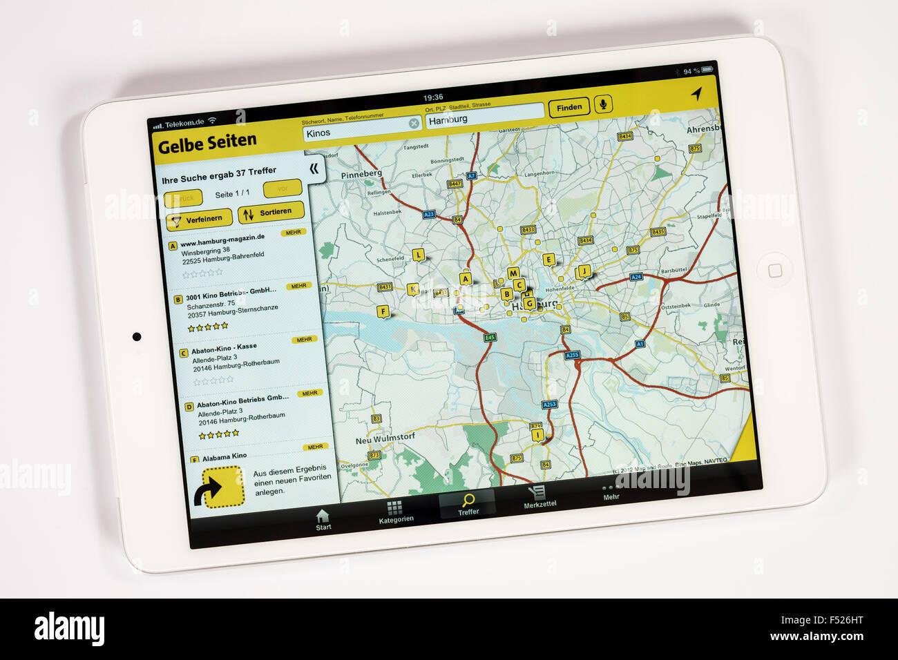 Apple iPad mini, l'affichage, de jaune et d'autre, iPad app, le programme, la fonction multi-touch, Photo Stock
