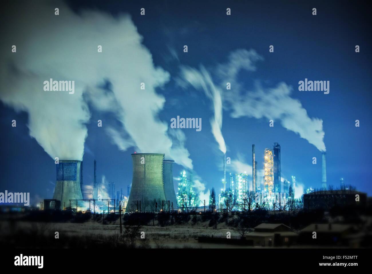 Un exemple classique de la façon dont l'industrie lourde polluer notre atmosphère Photo Stock
