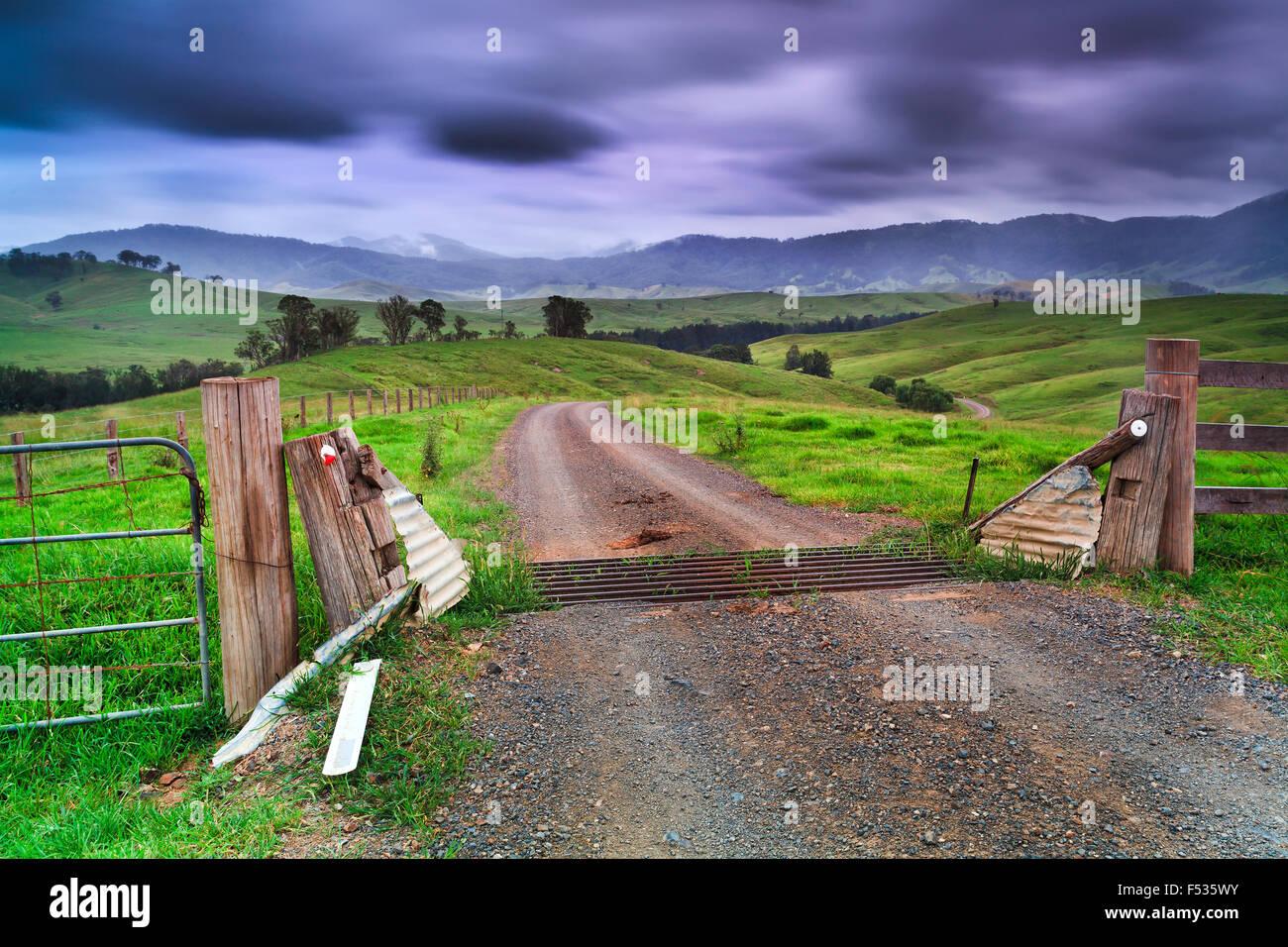 Route de gravier avec grille de bovins à travers les champs cultivés de la porte verte près de Barrington Photo Stock