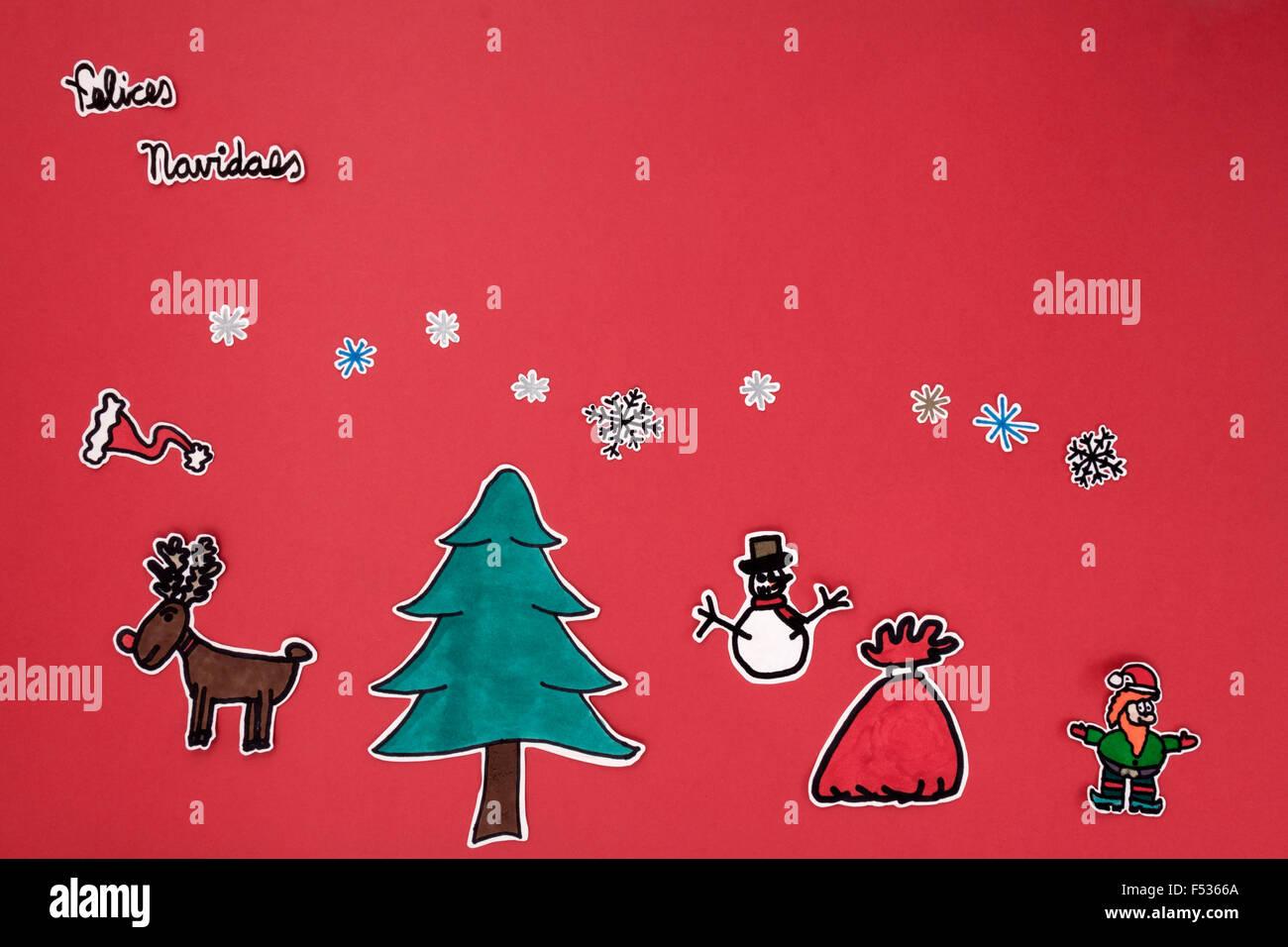 Une vue de dessus de l'horizontale un album de vœux de Noël avec un message de Noël heureux dans l'asturien Photo Stock