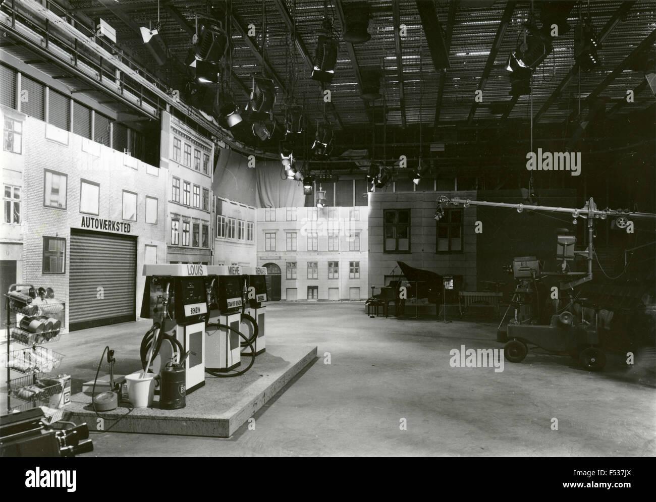 Un décor de cinéma avec une station service , Danemark Photo Stock
