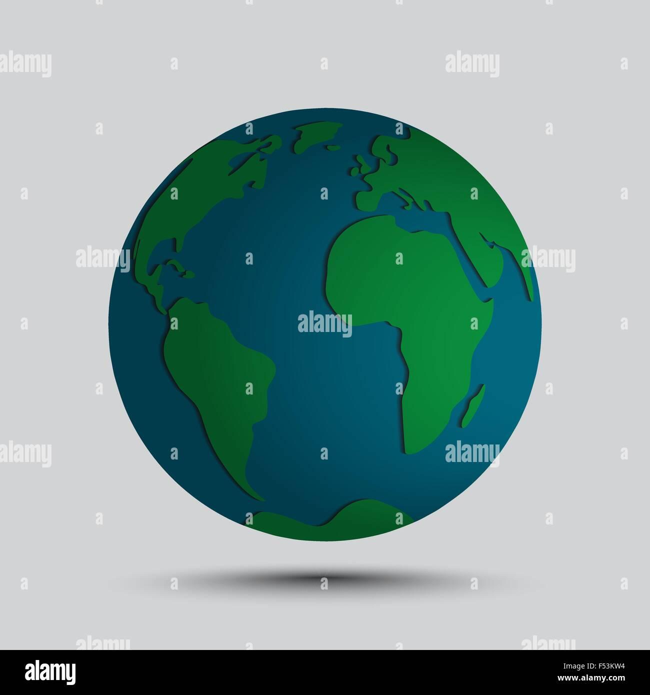 Vecteur d'une icône globe simplifiée avec relief en simples continents du monde. Photo Stock