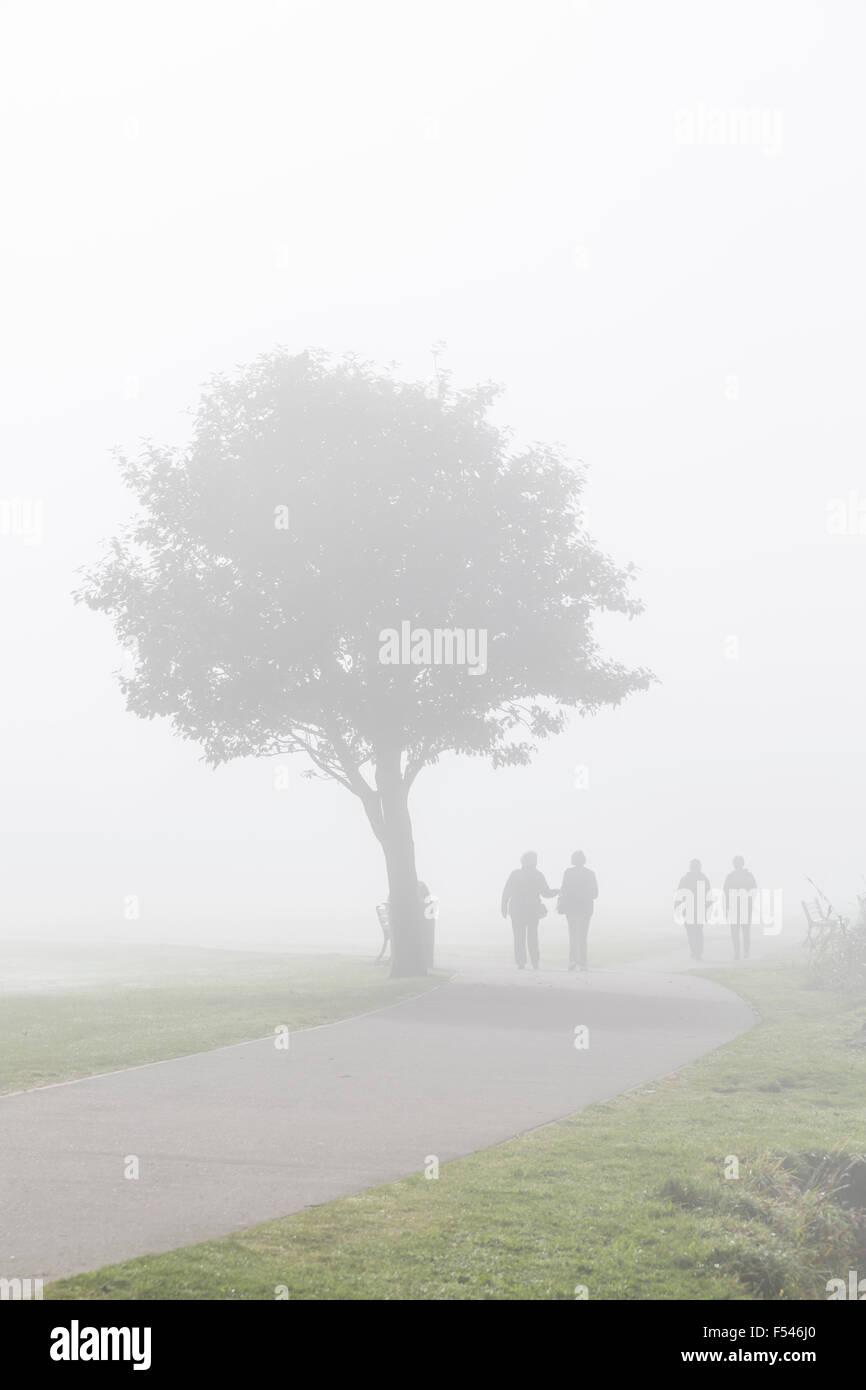 Deux couples marchant le long d'un chemin dans le brouillard, Écosse, Royaume-Uni Banque D'Images