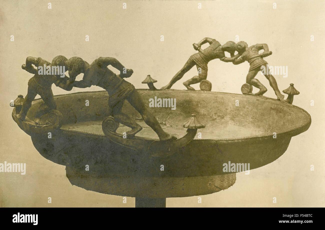 Bol de Filottrano , Travail , bronze étrusque Sec IV Photo Stock