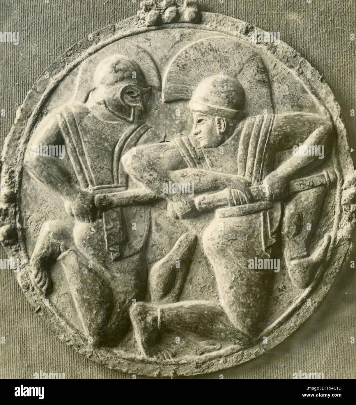Bas-relief grec en bronze, l'école Ionienne , Sec VI Photo Stock