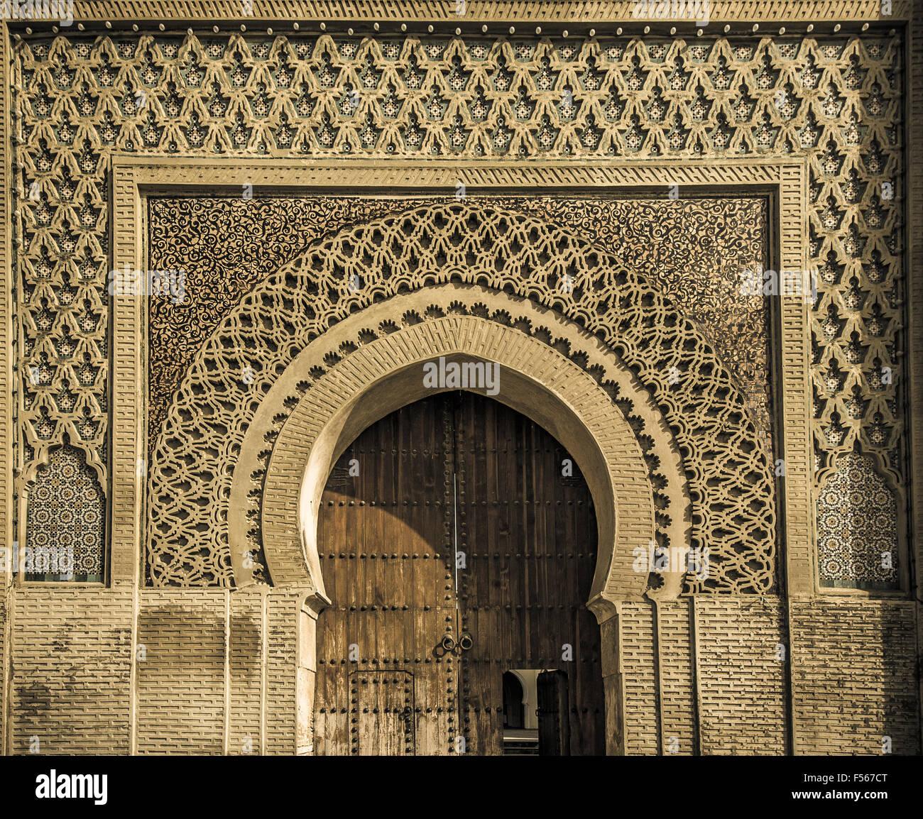 Anciennes portes à Meknes, Maroc Photo Stock
