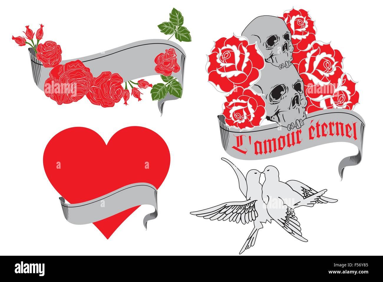 L Amour Eternel Motifs De Tatouage Isolated On White Vecteurs Et