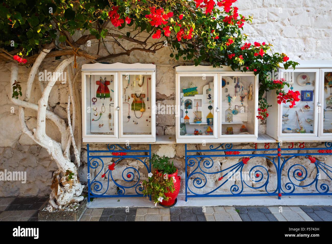 Voir dossiers d'une bijouterie dans village Adamantas, île de Milos, Photo Stock