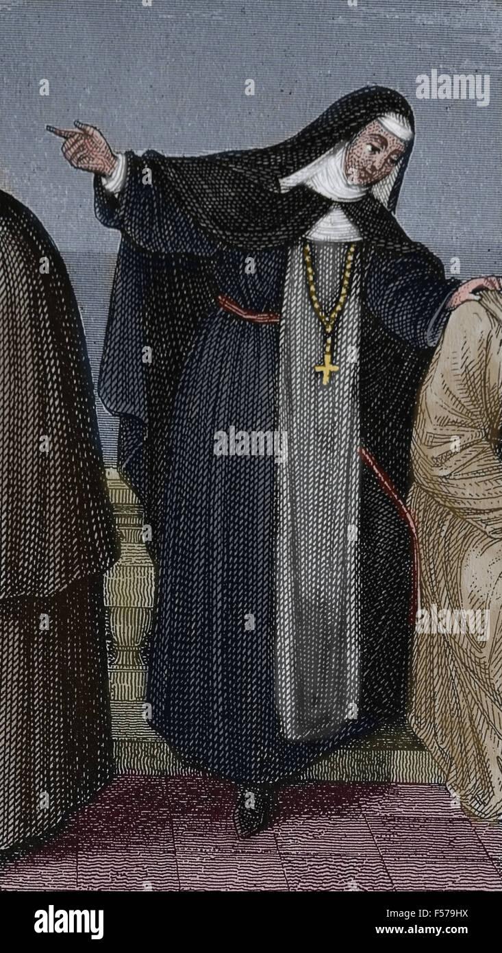 Religieuse de l'Ordre des Clarisses. L'Église catholique. L'époque médiévale. La Photo Stock