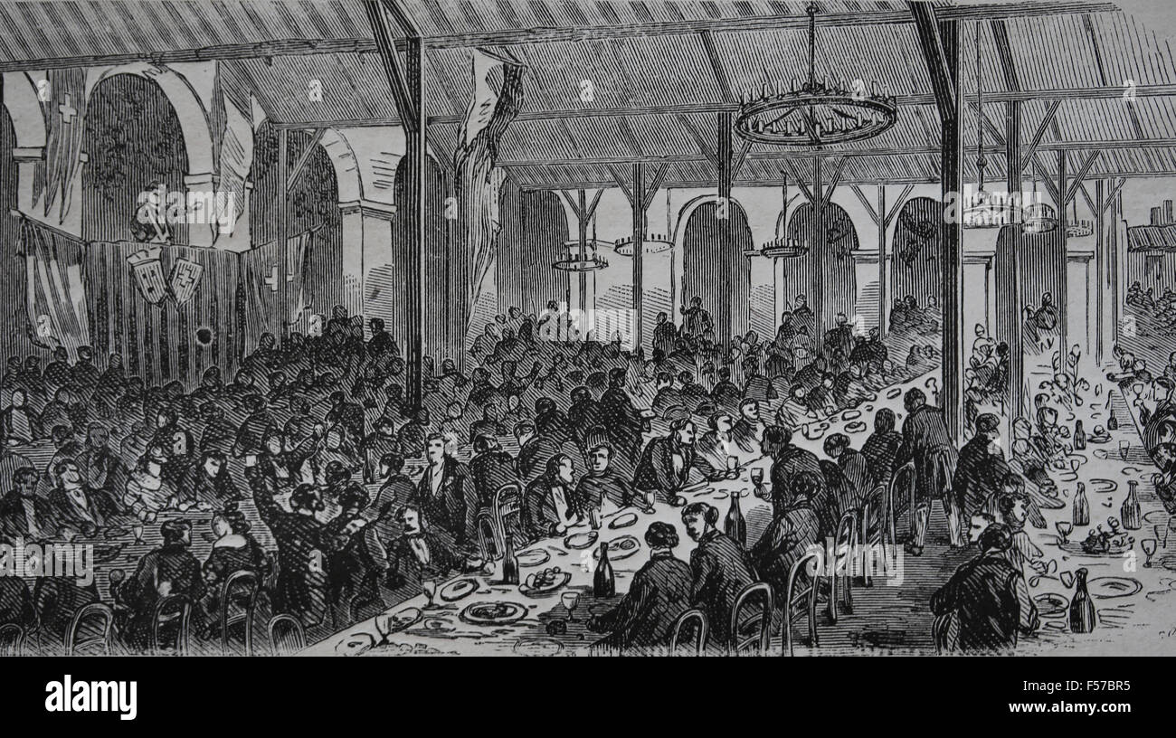 Banquet. Parti suisse. Paris. La France. La gravure. Le Monde illustre, en France. 19e siècle. Photo Stock