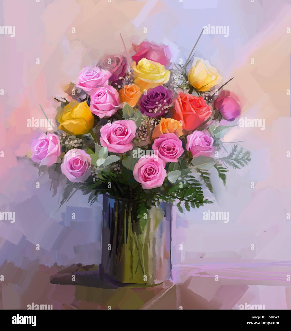 La Vie Toujours Un Bouquet De Fleurs Peinture A L Huile Fleurs Rose