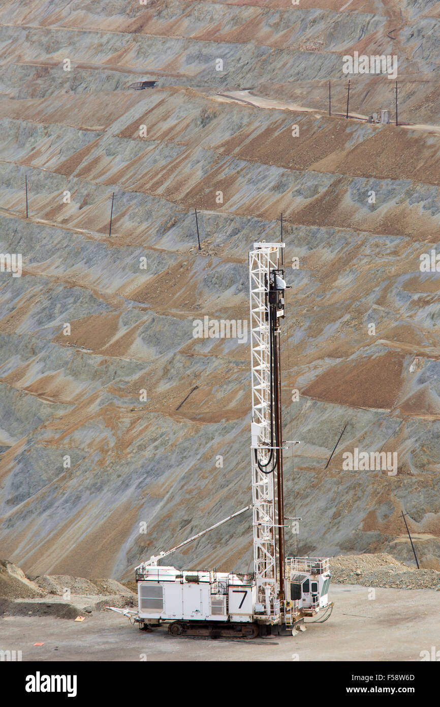 Santa Rita, Nouveau Mexique - une foreuse dans le Chino mine de cuivre à ciel ouvert, exploité par Freeport Photo Stock