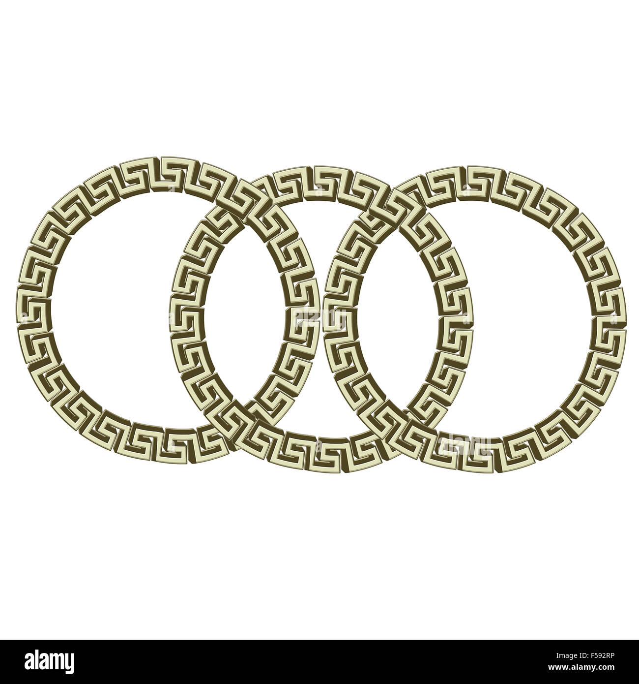 Seule clé grecque des cercles, isolé sur blanc. Illustration Photo Stock
