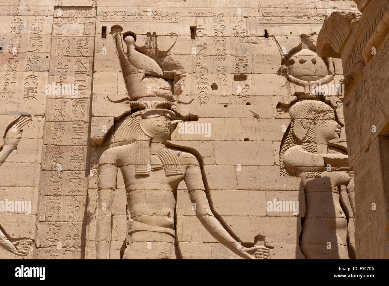 Temple de Philae, l'île d'Isis, Agliki, Assouan, en Haute Egypte. Photo Stock