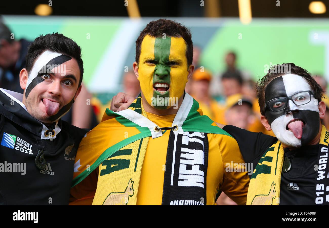 Londres, Royaume-Uni. 31 octobre, 2015. La NOUVELLE ZELANDE et l'Australie Fans Nouvelle-Zélande Australie Photo Stock