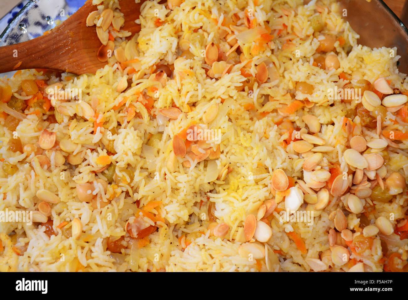 Plat de riz et d'amandes Photo Stock