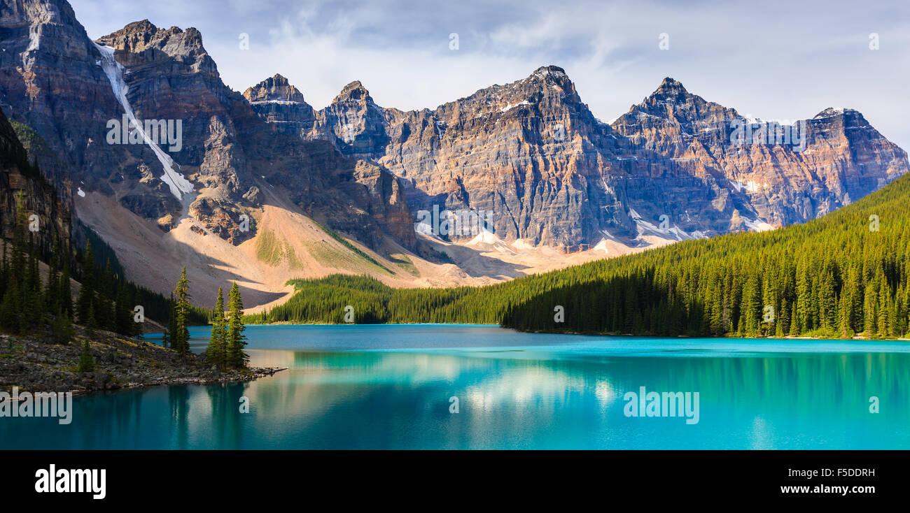 Le lac Moraine, dans le parc national Banff, Alberta, Canada. Photo Stock