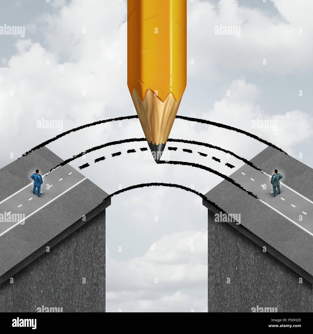 Combler le fossé d'affaires en partenariat concept comme un dessin au crayon géant se joindre à Photo Stock