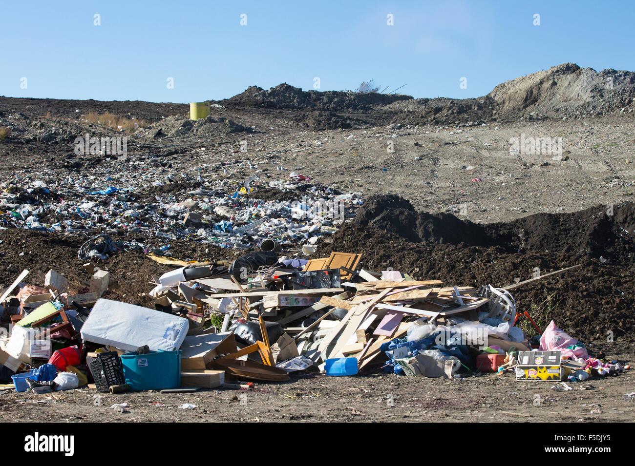 Cellule d'enfouissement actif à Shepard Installation de gestion des déchets. Photo Stock
