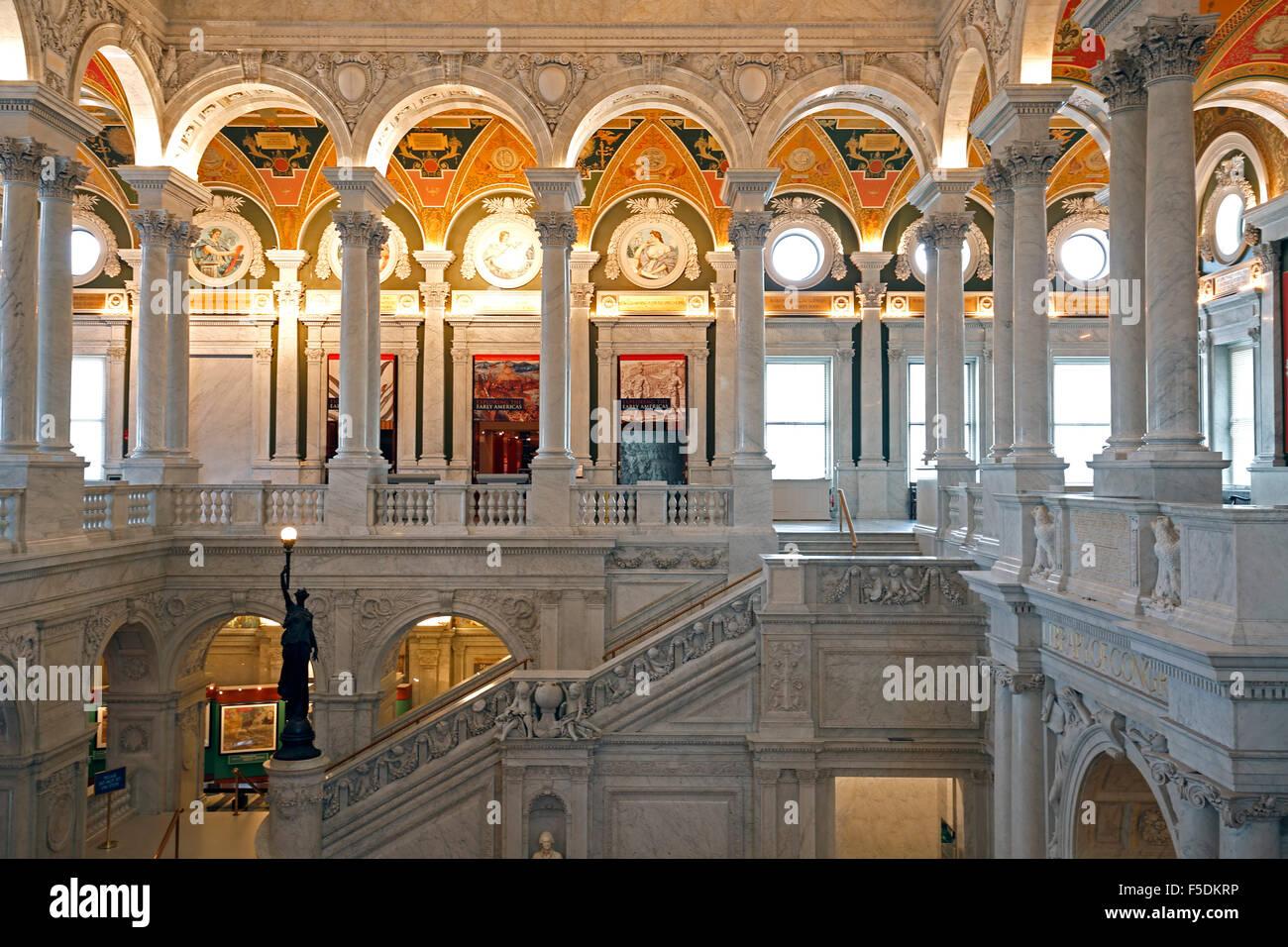 L'intérieur, Bibliothèque du Congrès, Washington, District de Columbia USA Banque D'Images