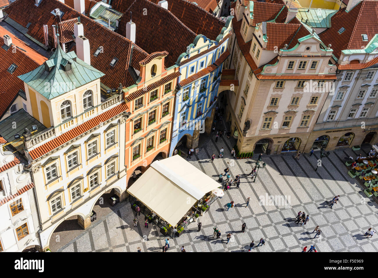 Portrait de bâtiments dans la Vieille Ville, site du patrimoine mondial de l'UNESCO, Prague, République Photo Stock