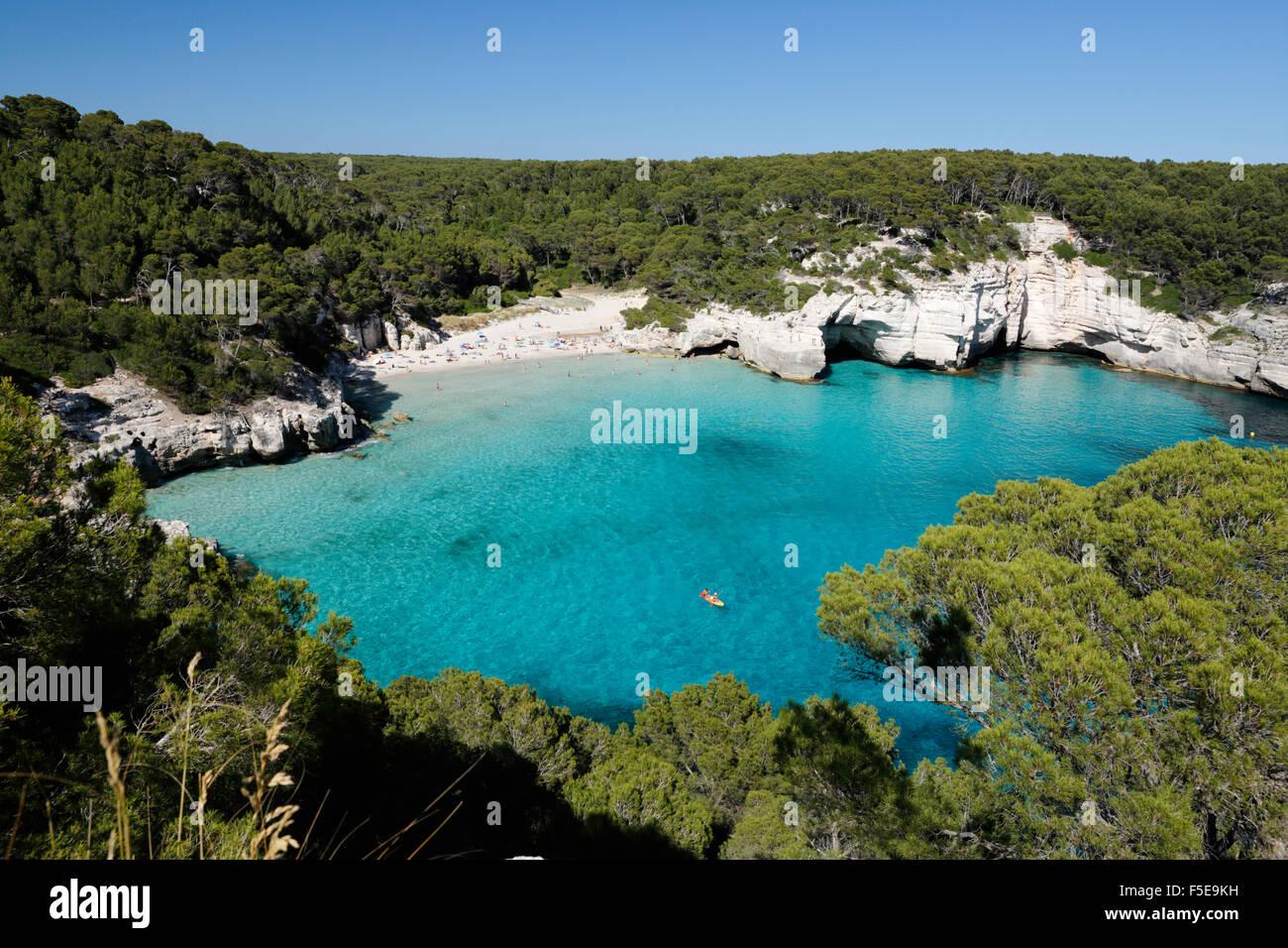 Cala Mitjana, près de Cala Galdana, côte sud-ouest, Minorque, Iles Baléares, Espagne, Méditerranée, Photo Stock