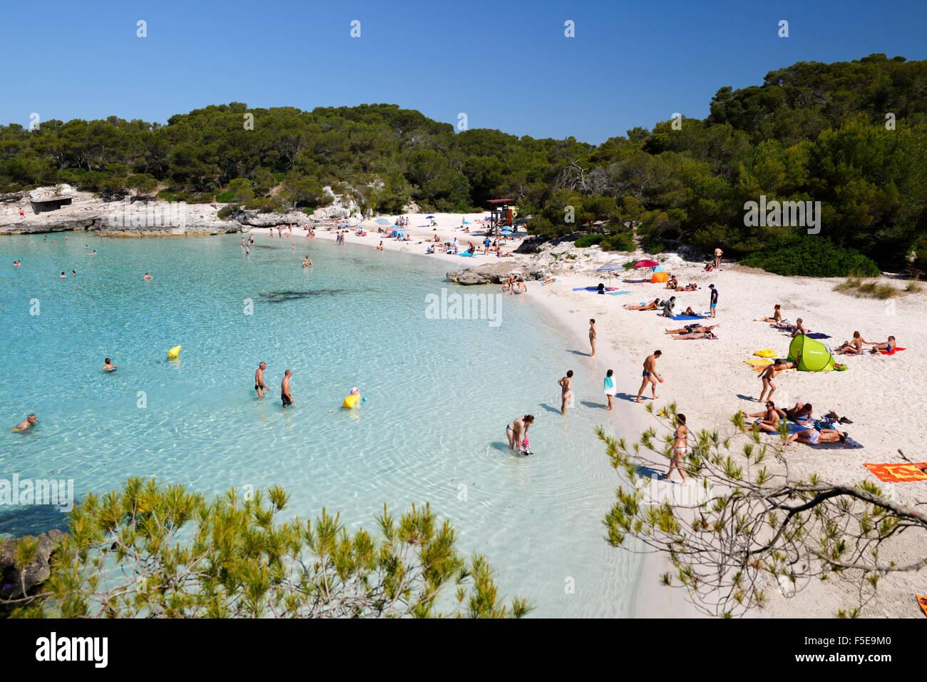Cala en Turqueta, côte sud-ouest, près de Ciutadella, Minorque, Iles Baléares, Espagne, Méditerranée, Photo Stock
