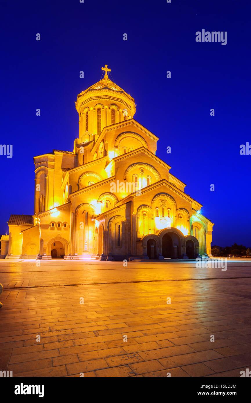 La Cathédrale de Tbilissi Sameda (sainte trinité) plus grande cathédrale orthodoxe dans le Caucase, Photo Stock