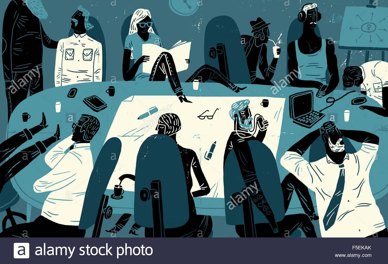 Ennuyer les gens d'affaires et de perdre du temps en réunion Photo Stock