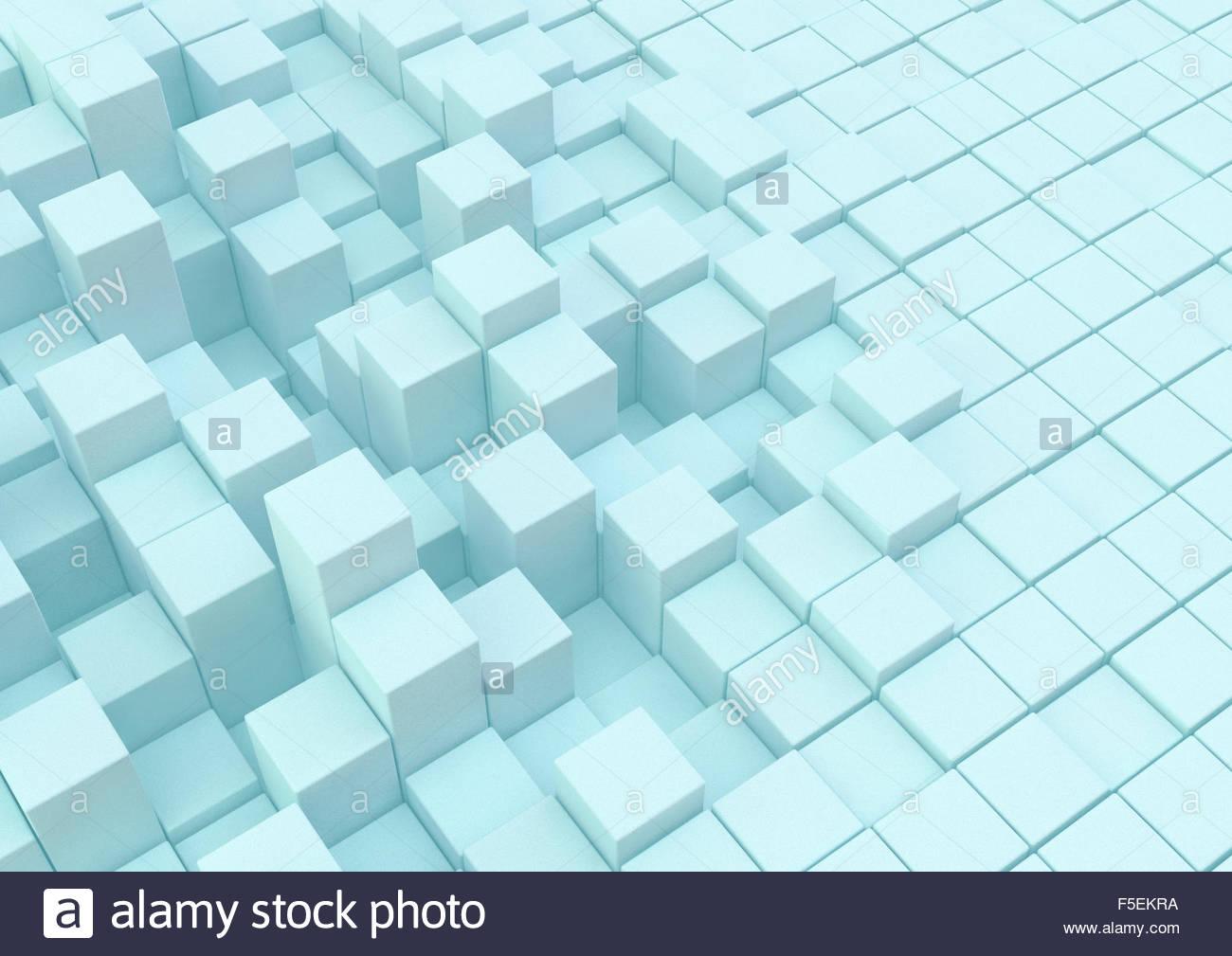 Surface inégale avec blocs de construction de différentes hauteurs dans grille Photo Stock