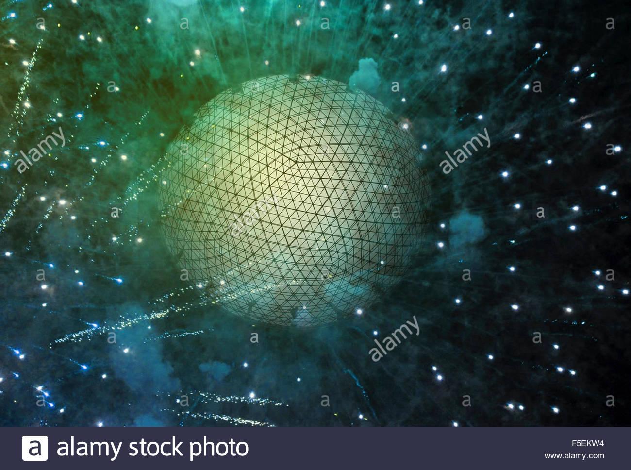 Quadrillage sur sphère explosion Photo Stock