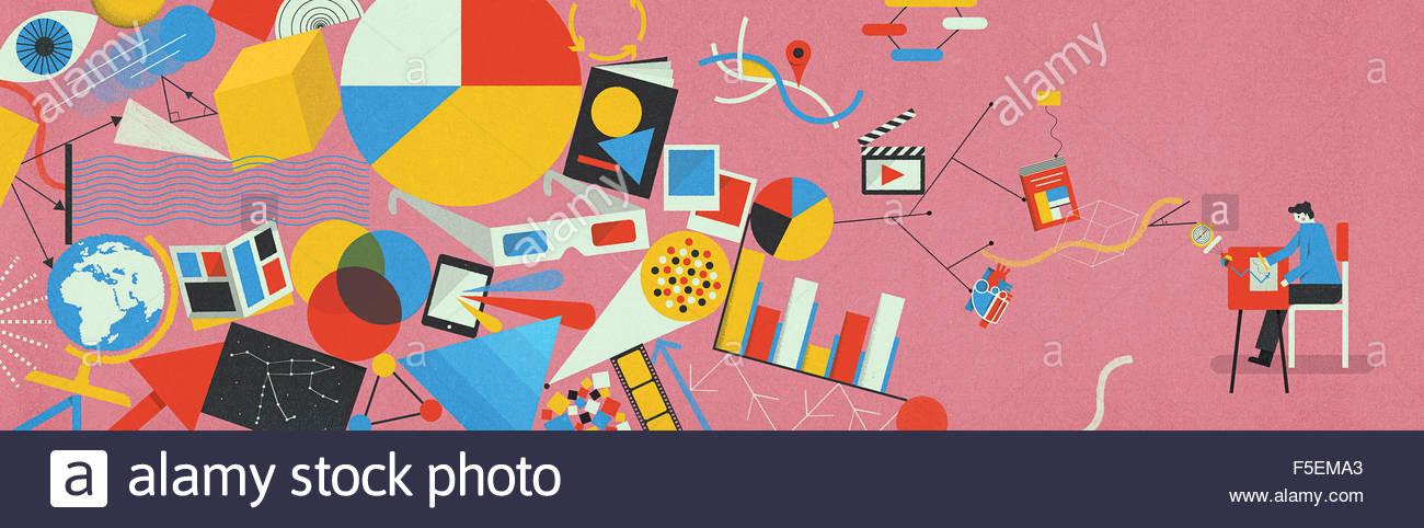 Dessin de l'enfant au bureau connecté à possibilités d'éducation Photo Stock