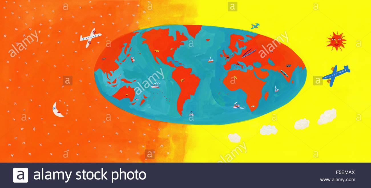 Différents types de transport sur carte du monde Photo Stock