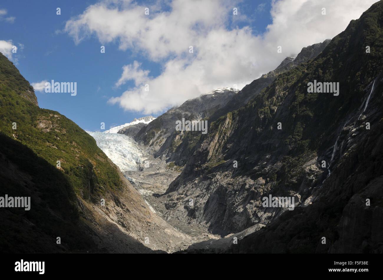 Franz Josef Glacier, une fonte des glaciers, en raison du changement climatique, François-Joseph, île Photo Stock