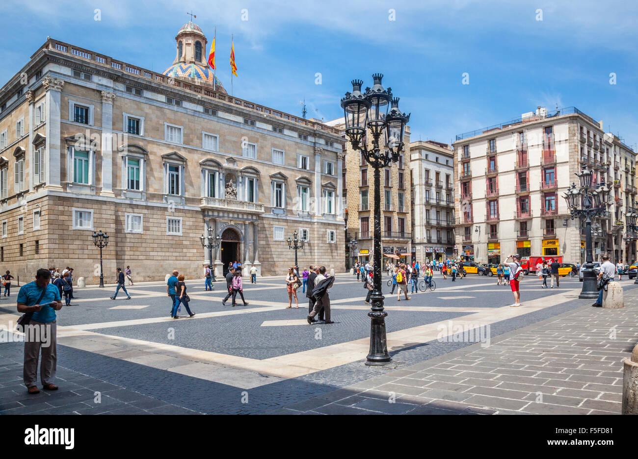 Espagne, Catalogne, Barcelone, Ciutat Vella, le Barri Gòtic, le Palais de la Generalitat de Catalogne, Plaça Photo Stock