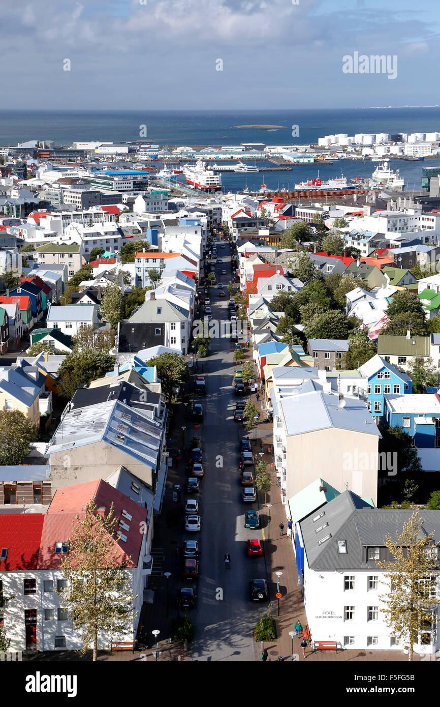 Vue aérienne de Reykjavik, Islande Photo Stock