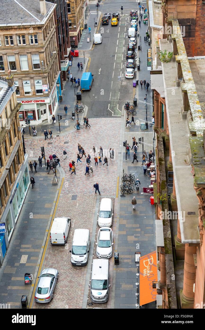 Vue sur Mitchell Street et West Nile Street dans le centre-ville de Glasgow, en Écosse, Royaume-Uni depuis la tour Lighthouse Banque D'Images