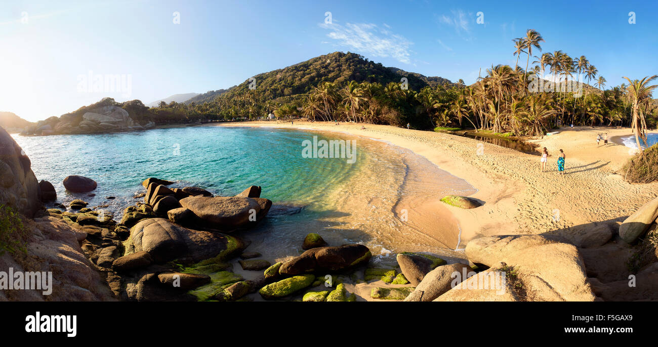Parque Tayrona, Colombie. Parc national sur la côte des Caraïbes. Plage El Cabo del San Juan. Photo Stock