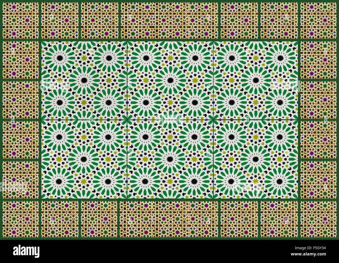 Collage, de conception géométrique et mur mauresque Photo Stock