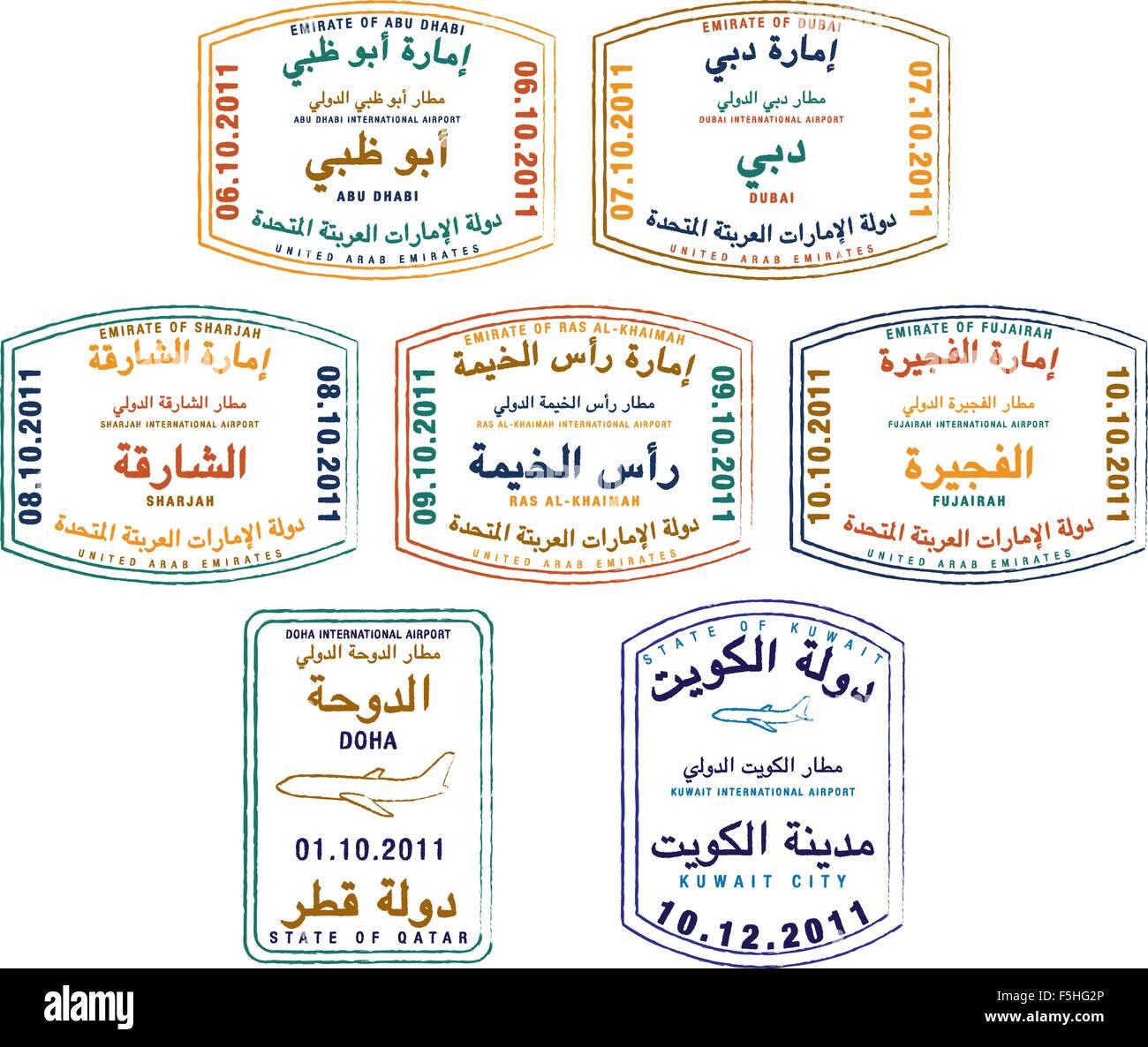 Timbres de Passeport stylisé des Émirats arabes unis, le Koweït et le Qatar en format vectoriel. Illustration de Vecteur