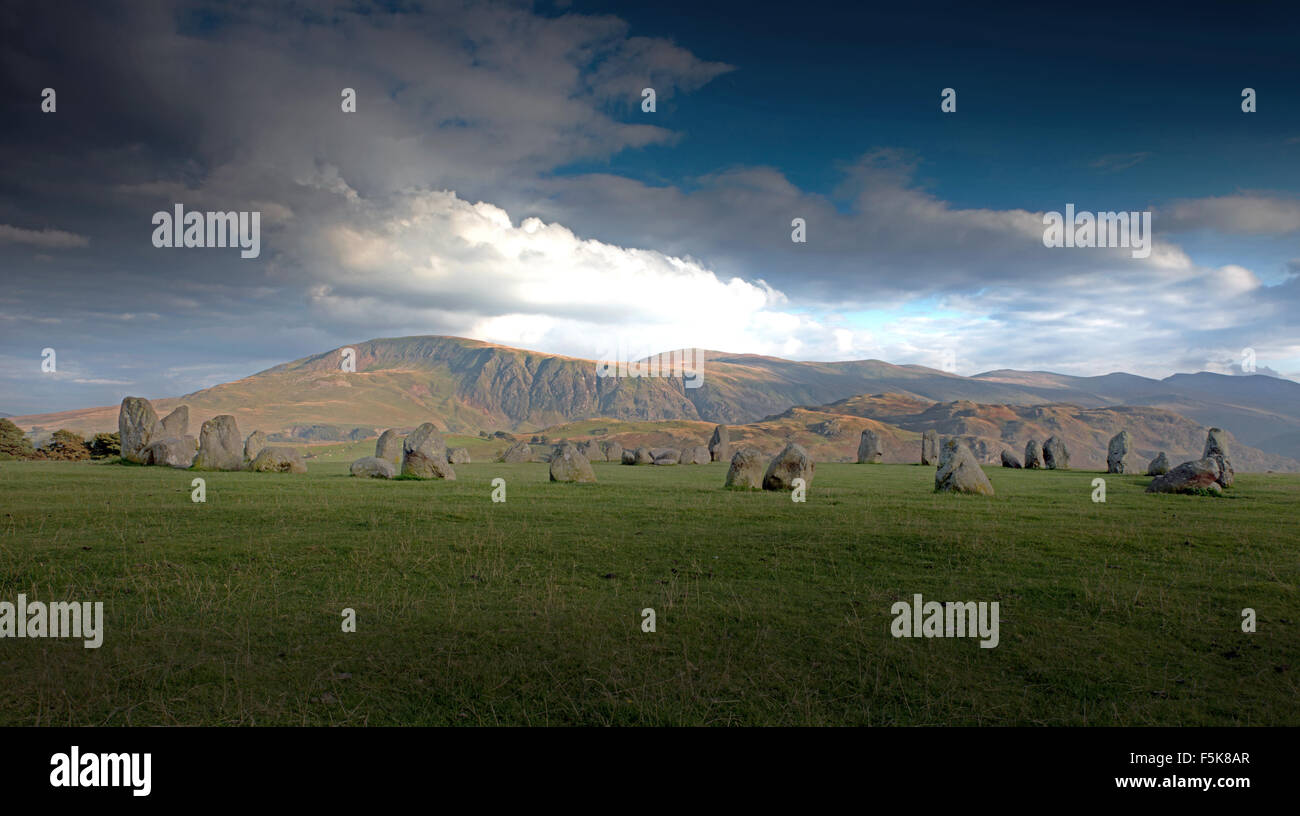 Le cercle de pierres de Castlerigg près de Keswick, Lake District, Cumbria, England, UK, FR Photo Stock