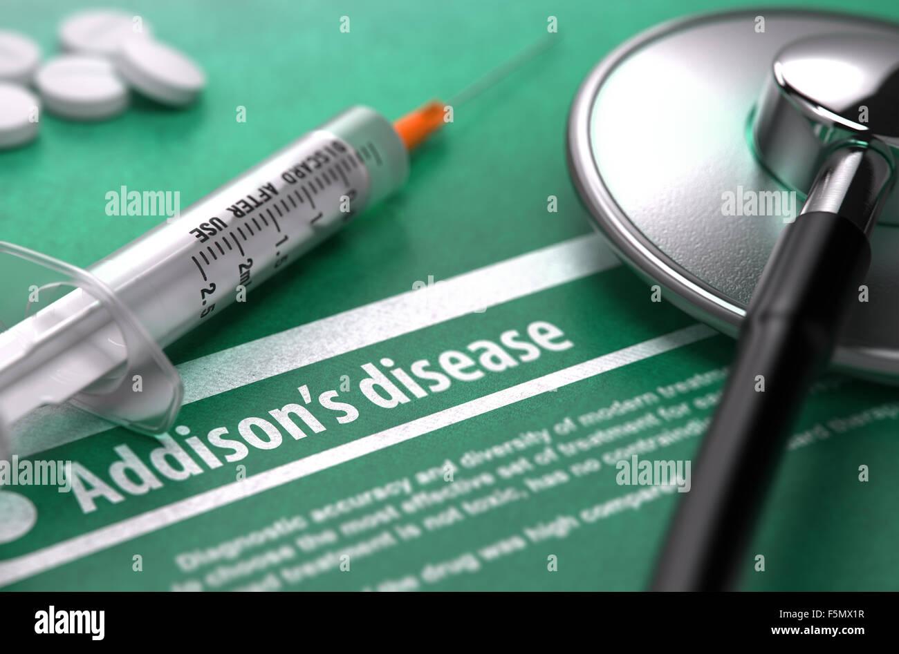 Le diagnostic - la maladie d'Addison. Concept médical Banque D ...