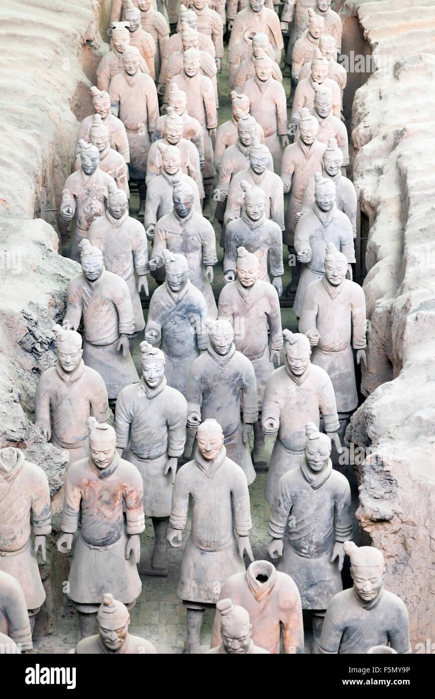 Guerriers de terre cuite à Xian, Chine Photo Stock