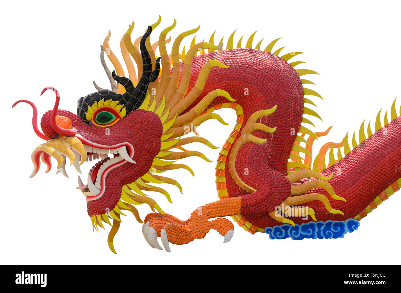 Image dragon chinois sur fonds blancs. Photo Stock
