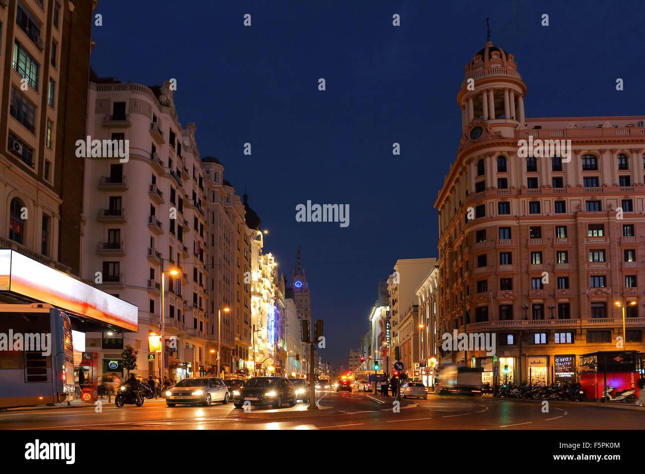 La Gran Via, photo prise à partir de Callao à peu près temps. Photo Stock